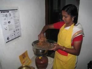 Preparing Raw Herbs to Put in the Milk
